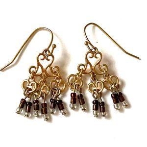 Gold fringe dangle earrings